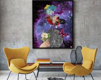 Christmas,Steampunk bir, Victorian style, Mechanic animal, Vintage poster, colorful feathers, Purple sky, cosmic print, Galactic print