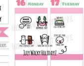 Wacky Holidays - July 2017 Planner Stickers (W07)