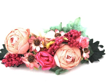 Flower,barrette,peony,pink,green,roses,ivory,daisy,green,leafs,clip,hair,hydrangea,fucsia,boho,natural,chic,flower accessories,wedding