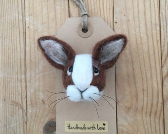 Bunny Rabbit Brooch, Handmade Unique Pin Accessory, animal lover gift
