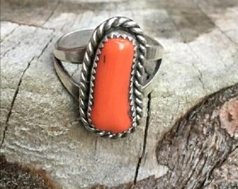 Vintage Navajo Sterling Coral Ring