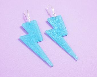 Lightning Bolt Earrings - Blue Glitter