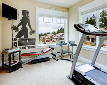 home gym ideas wall decal pain is weakness leaving the body