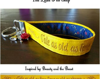 Embroidered Beauty and the Beast Inspired Key Fob/Wristlet with Charms