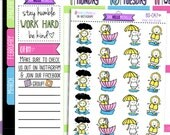 Rainy Day Beedoo  BD-047 | 20 Hand-drawn Planner Stickers