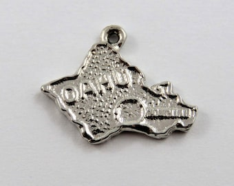 Outline of Hawaiian Island of Oahu Sterling Silver Charm or Pendant.