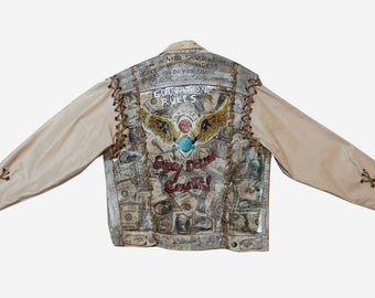 1990s Denim and Leather Custom Money Découpage Jacket