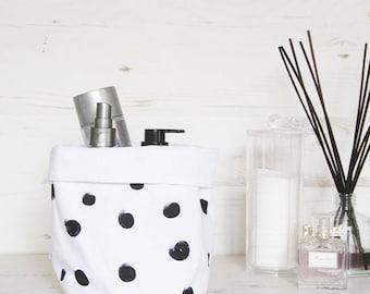 White Fabric storage basket with large black polka dots, storage bin, storage box, toy storage, bathroom storage