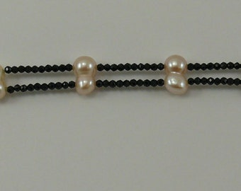 Freshwater Pearl and Black Spinel Double Strand Bracelet with Silver Clasp