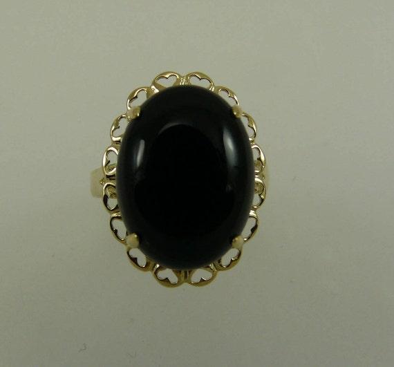 Black Onyx 16.2 x 12.1 mm Ring 14k Yellow Gold