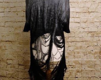 Silver Shredded Top - Alternative, Goth, Grunge, Silver, Handmade, Hand Painted, One of a Kind