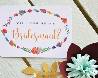 Will you be my Bridesmaid? Postcard - with Flower Garland. Watercolour Bridesmaid Proposal Card - Bridesmaid Card.