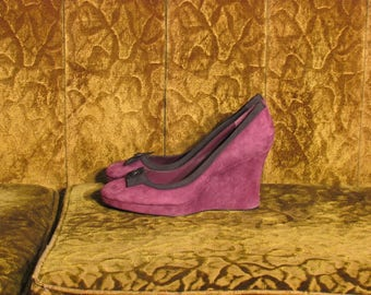 Women's Purple Suede Leather Tommy Hilfiger Wedges Black Trim Size 9