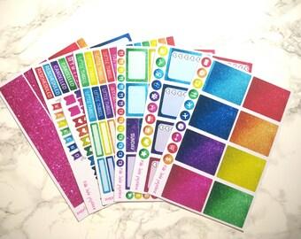 Weekly Sticker Kit for Erin Condren - Glitter rainbow
