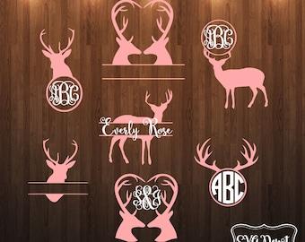 Deer group svg dxf file, deer monogram, monogram antlers, cut file