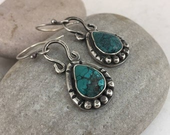 Sterling Silver Earrings, Turquoise Earrings, Drop, Dangle, Rustic, Boho Jewelry, Hippie, Gypsy, Blue