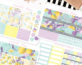 June Monthly View - Lemons into Lemonade Themed Planner Sticker Monthly Kit // 145+ Stickers // Perfect for Erin Condren Vertical Planner