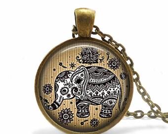 Elephant Necklace Elephant Jewelry Elephant Pendant Tribal Tatoo Mandala Jewelry Elephant Lover Gift Elephant Pendant Keychain Gift for her