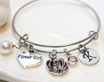 flower girl bracelet, flower girl bangle, flower girl jewelry, flower girl initial bracelet, flower girl gift, flower girl wedding jewelry