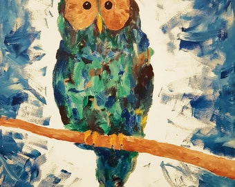 Animal Painting Owl Colorful Abstract Art