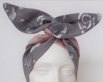 Wired Headband: Grey Floral and Silk