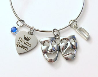 Drama Queen Bracelet, Gift for Musical Theater Performer Jewelry Charm Bangle Silver birthstone initial Personalized Custom present Friend