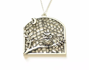 Large Owl Necklace, Statement Jewelry, Silver Bird Charm Women Pendant Fashion Birthday Gift Present 925 Sterling Chain Detailed Filigree