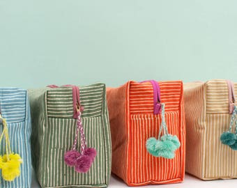 Hand Block Print Stripe Washbags