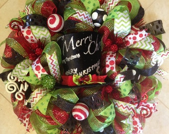Christmas wreath, Merry christmas wreath, whimsical christmas wreath, top hat wreath, red green white wreath, christmas decor,