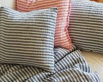 Linen pillowcase - housewife pillowcase, pink, blue striped washed linen - standard, euro, Queen, King, body pillow case, linen bedding