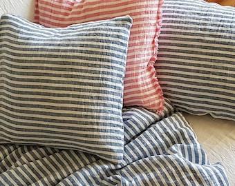 Linen pillowcase - housewife pillowcase, pink, blue striped washed linen - standard, euro, Queen, King, body pillow case, linen bedding