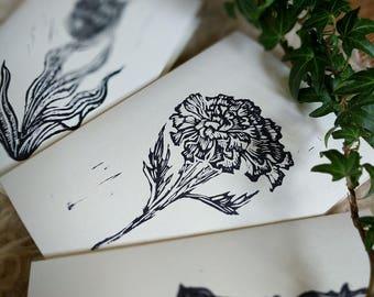 Handcarved stamped Spring time Flowers / Botanical Prints / PACK OF 3