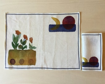 Set placemat and napkin. Pure linen. Digital print on linen of watercolor