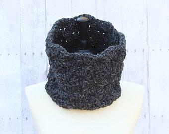 Dark Grey Infinity Scarf, Grey Loop Scarf, Grey Cowl, Grey Neckwarmer, Grey Crochet Scarf, Grey Chunky Scarf, Grey Wool Scarf, THE ISABEL