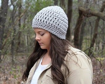 Crochet Hat, Crochet Beanie, Grey Beanie, Grey Hat, Grey Winter Hat, Chunky Beanie, Women's Hat, Chunky Hat, Skull Cap, Grey Hat, THE SENECA
