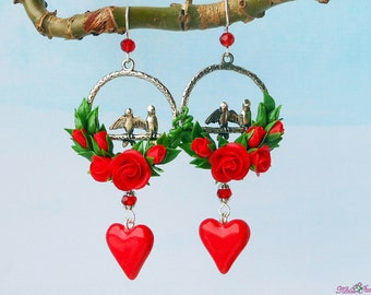 Valentine earrings red roses Red heart earrings polymer clay Floral long earrings Romantic earrings love birds Jewelry Valentine's Day Gift
