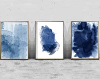 Set of 3 Abstract Watercolor Prints Indigo Blue Navy Wall art Prints Splatter Minimalist art Scandinavian Art Nordic Prints Boho Home Decor