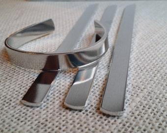 "12 Polished 3/8"" x 6"" 12 Gauge Bracelet Cuff Blanks Heavy Weight Food Safe Aluminum- FLAT"