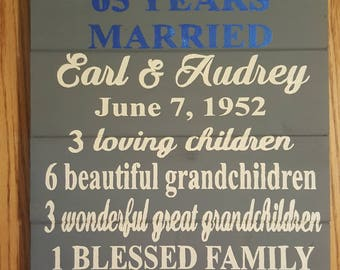 65th Anniversary Wood Sign