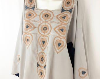 Vintage Caftan    Cotton Embroidered Caftan    Large XL