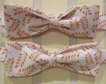 Beige and White Leaves Bow Tie