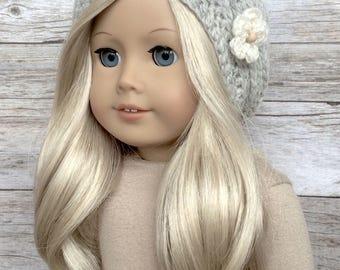 DIY Crochet Pattern – 18 inch Doll Slouchy Flower Beanie PDF 21 (Fits American Girl Dolls) – Digital Download
