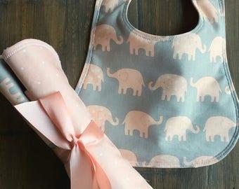 Baby Girl Bib, Baby Girl Burp Cloth, Baby Girl Bib & Burp Cloth Set, Baby Girl Shower Gift Set, Toddler Bib, Pink Elephant Set, Monogram Set