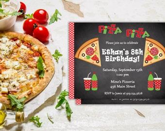 Pizza Party Invitation, Pizza Party Invite, Pizza Invitation, Pizza Birthday Invitation, Birthday Pizza Party Invitation