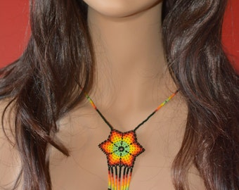 Handbeaded necklace, star, handmade in Mexico,  multicolor beads, huichol art