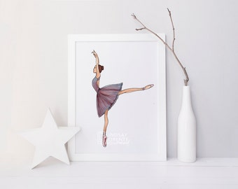 INSTANT DIGITAL DOWNLOAD, Fashion Illustration, Fashion Print, Tiny Dancer, Gift for Dancer, ballet dancer, dancer painting, dancer art