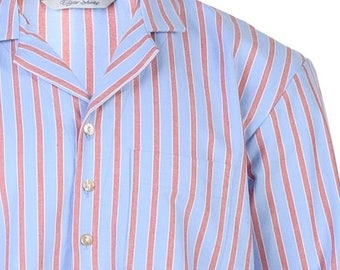 Blue striped brushed cotton nightshirt, shell buttons, shirt tail,  mens large - slight second