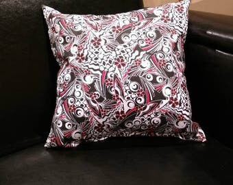 "Black and Red Geometric Print 12"" Decorative Throw Pillow, Black Red and White Throw Pillow, Black and Red Home Decor, Black and Red Pillow"
