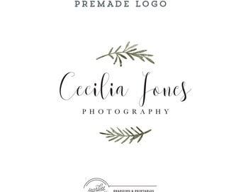 Floral Watercolor Logo design, Premade Floral Logo, Calligraphic Logo, Floral Feminine Branding, Premade Logo Design, Logo and watermark