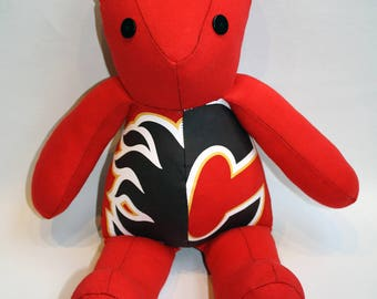 Recycled Calgary Flames T-shirt Vintage Style Teddy Bear